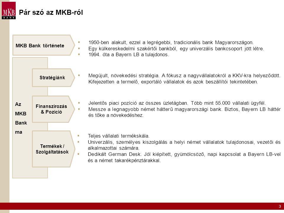 3 Pár szó az MKB-ról MKB Bank története  Jelentős piaci pozíció az összes üzletágban. Több mint 55.000 vállalati ügyfél.  Messze a legnagyobb német