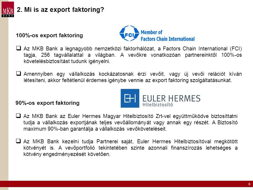 6 2. Mi is az export faktoring? 100%-os export faktoring  Az MKB Bank a legnagyobb nemzetközi faktorhálózat, a Factors Chain International (FCI) tagj