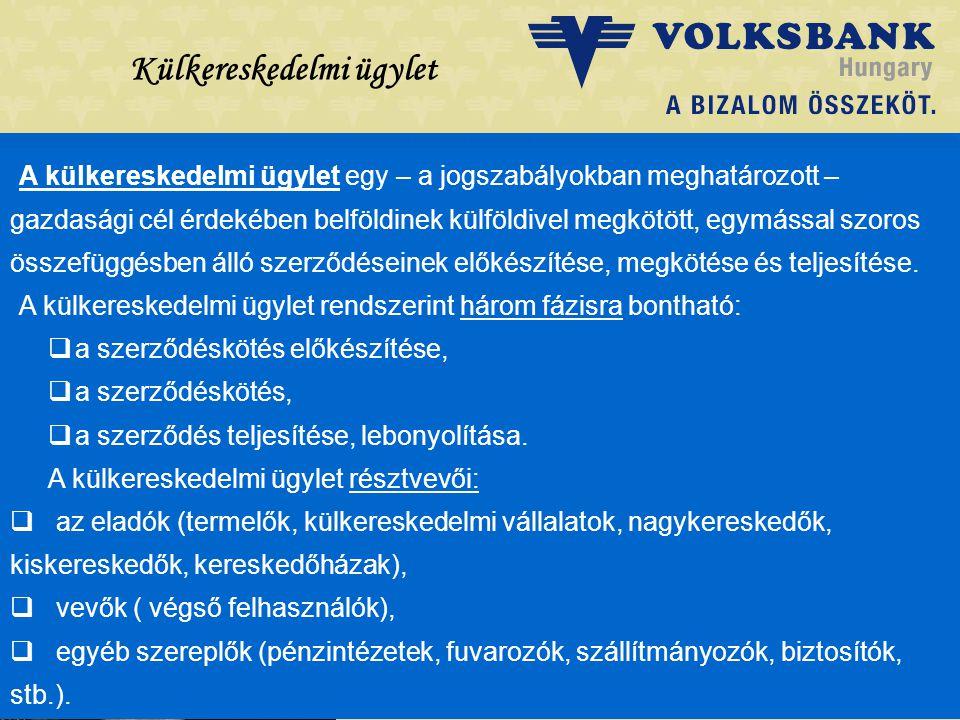Dr. Blazovich László Volksbank, Szeged Külkereskedelmi ügylet A külkereskedelmi ügylet egy – a jogszabályokban meghatározott – gazdasági cél érdekében