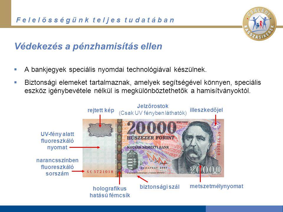 F e l e l ő s s é g ü n k t e l j e s t u d a t á b a n Védekezés a pénzhamisítás ellen  A bankjegyek speciális nyomdai technológiával készülnek.  B