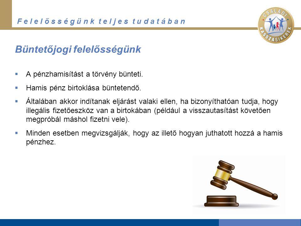 F e l e l ő s s é g ü n k t e l j e s t u d a t á b a n Büntetőjogi felelősségünk  A pénzhamisítást a törvény bünteti.  Hamis pénz birtoklása büntet