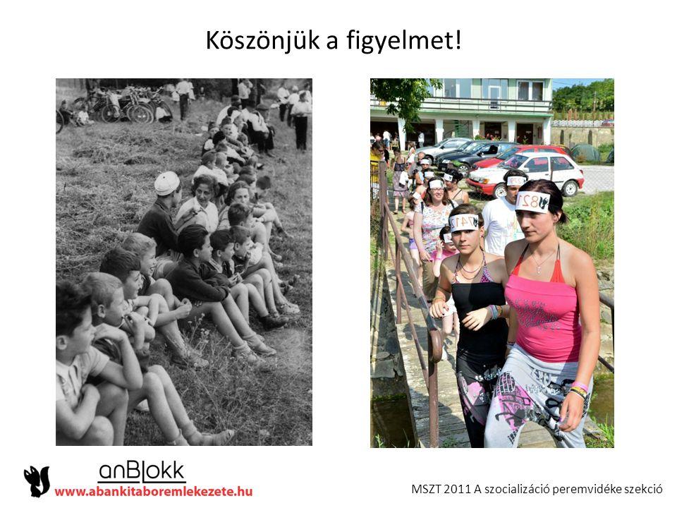 MSZT 2011 A szocializáció peremvidéke szekció Köszönjük a figyelmet!