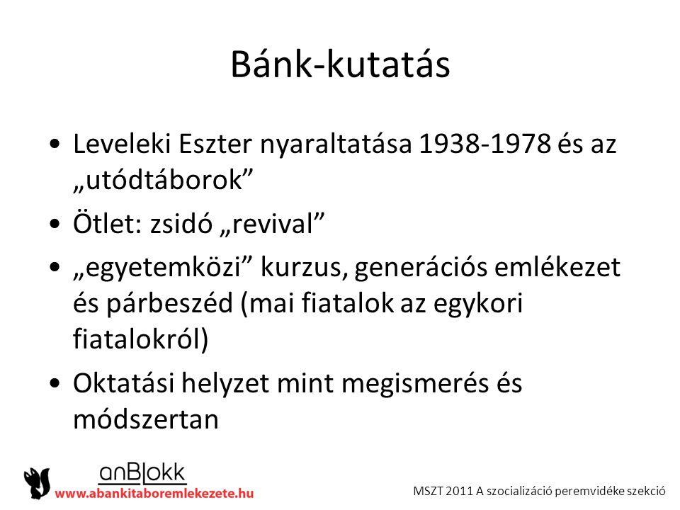 """MSZT 2011 A szocializáció peremvidéke szekció Bánk-kutatás •Leveleki Eszter nyaraltatása 1938-1978 és az """"utódtáborok"""" •Ötlet: zsidó """"revival"""" •""""egyet"""