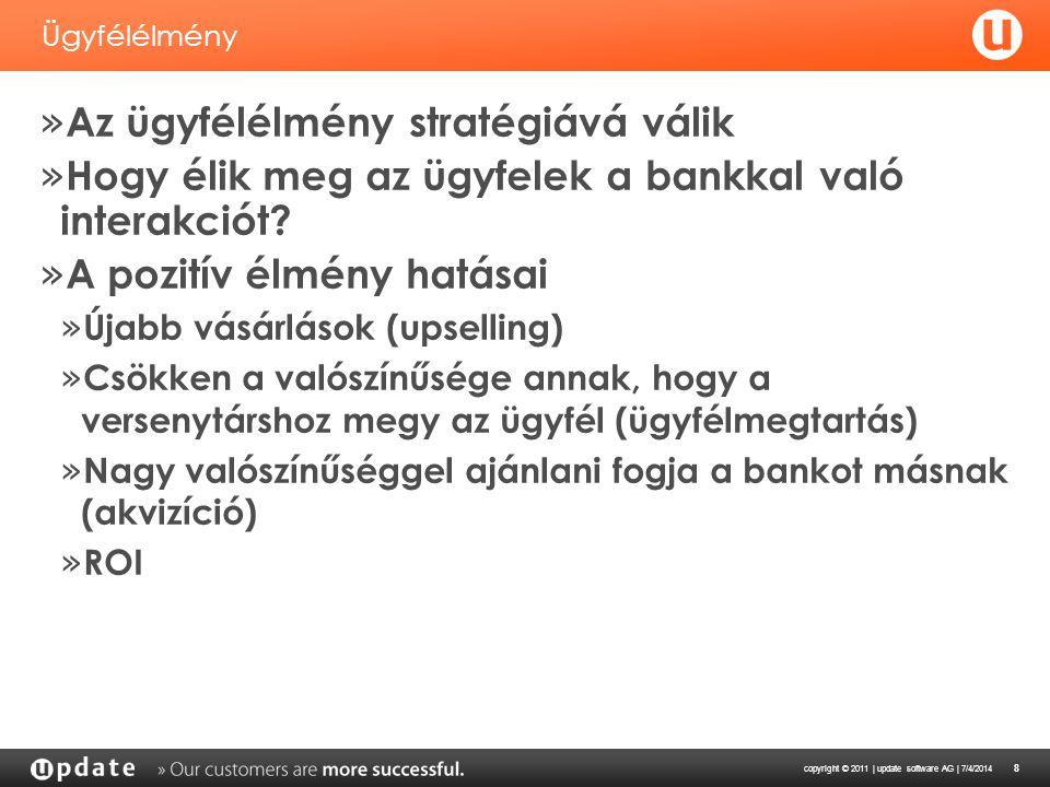 copyright © 2011 | update software AG | 7/4/2014 8 Ügyfélélmény » Az ügyfélélmény stratégiává válik » Hogy élik meg az ügyfelek a bankkal való interak
