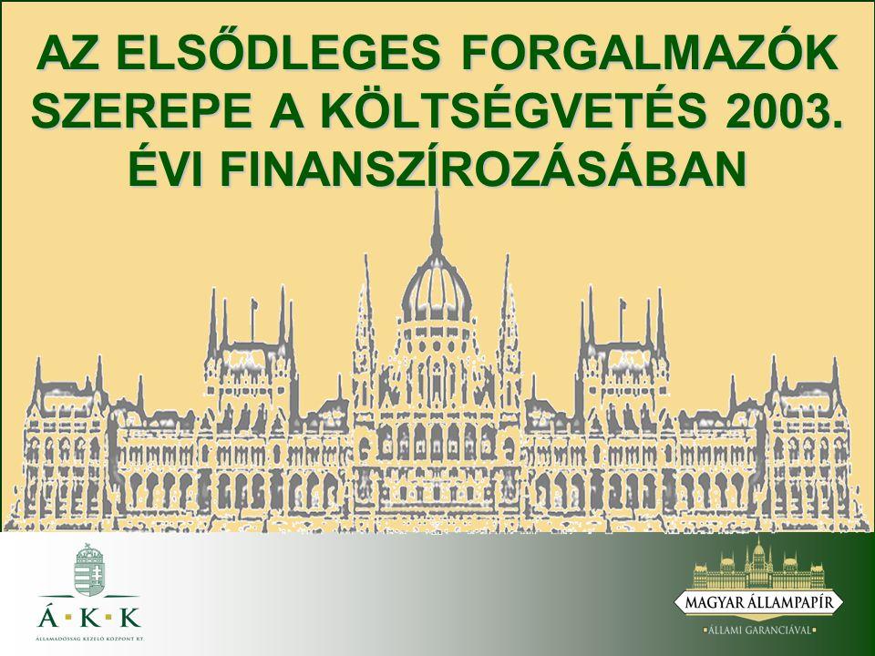 AZ ELSŐDLEGES FORGALMAZÓK SZEREPE A KÖLTSÉGVETÉS 2003. ÉVI FINANSZÍROZÁSÁBAN