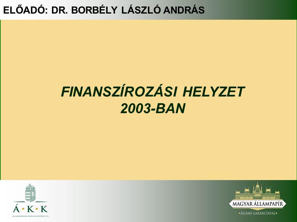 ELŐADÓ: DR. BORBÉLY LÁSZLÓ ANDRÁS FINANSZÍROZÁSI HELYZET 2003-BAN