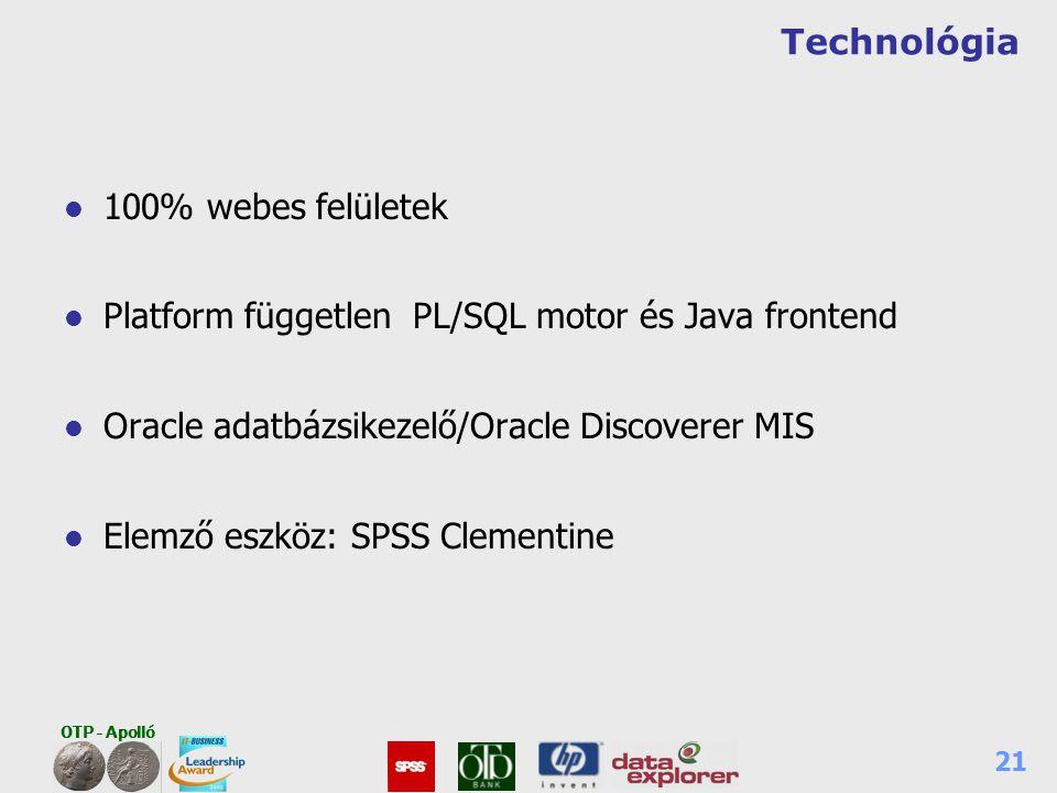 OTP - Apolló 21 Technológia l 100% webes felületek l Platform független PL/SQL motor és Java frontend l Oracle adatbázsikezelő/Oracle Discoverer MIS l