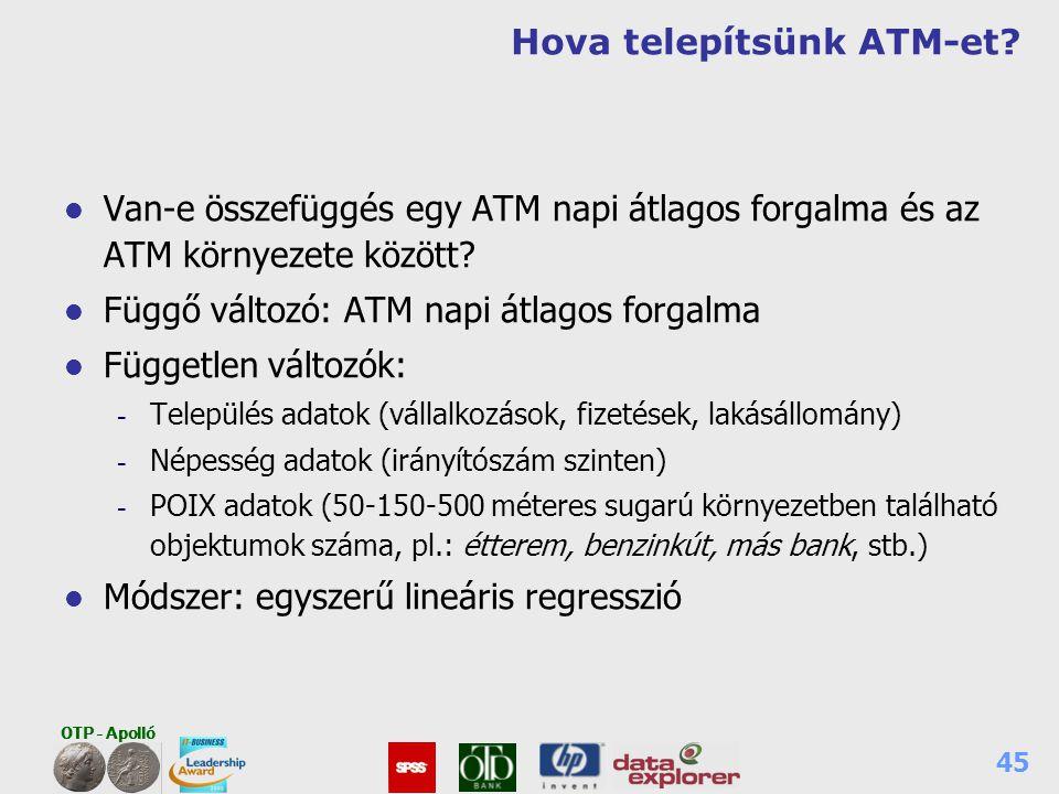 OTP - Apolló 45 Hova telepítsünk ATM-et? l Van-e összefüggés egy ATM napi átlagos forgalma és az ATM környezete között? l Függő változó: ATM napi átla