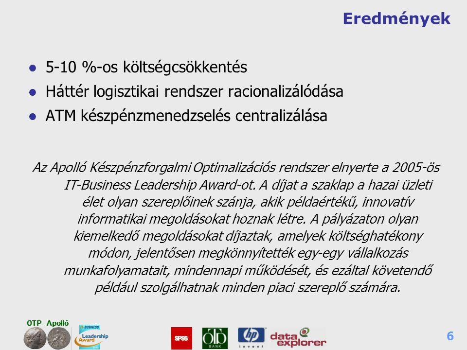 OTP - Apolló 6 Eredmények l 5-10 %-os költségcsökkentés l Háttér logisztikai rendszer racionalizálódása l ATM készpénzmenedzselés centralizálása Az Ap