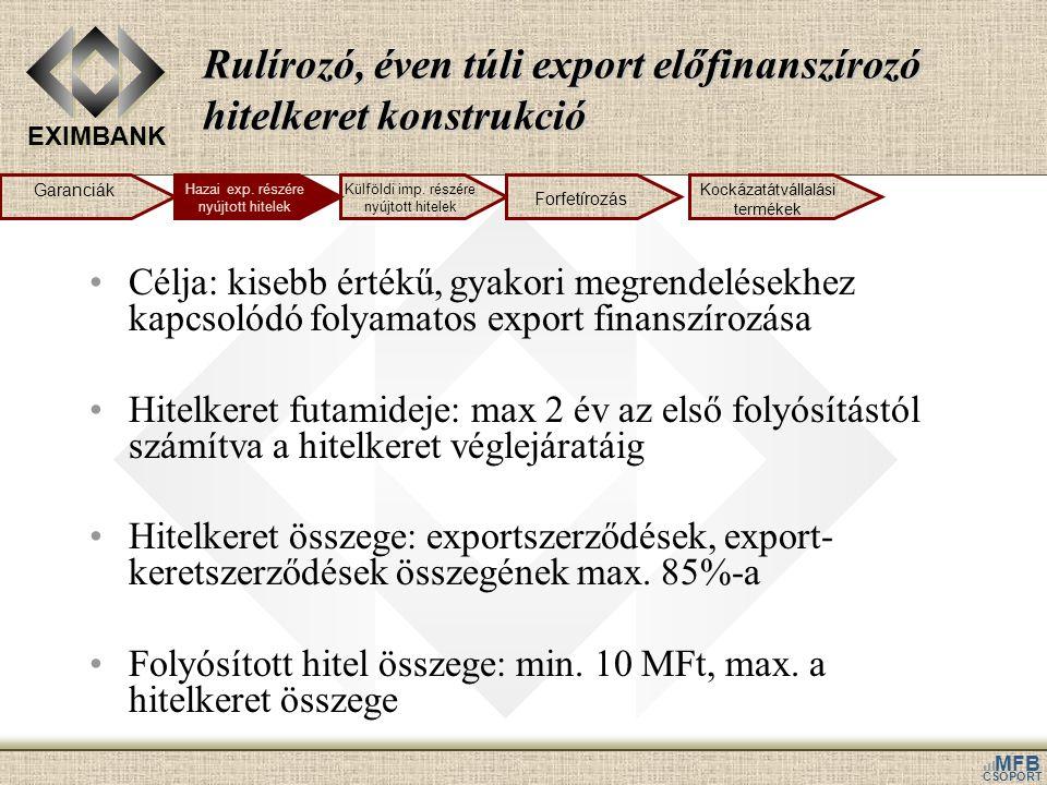 EXIMBANK MFB CSOPORT Rulírozó, éven túli export előfinanszírozó hitelkeret konstrukció •Célja: kisebb értékű, gyakori megrendelésekhez kapcsolódó foly