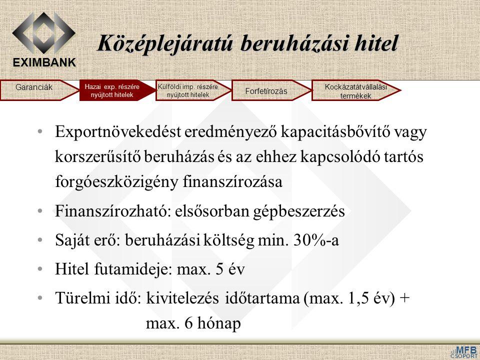 EXIMBANK MFB CSOPORT Középlejáratú beruházási hitel •Exportnövekedést eredményező kapacitásbővítő vagy korszerűsítő beruházás és az ehhez kapcsolódó t