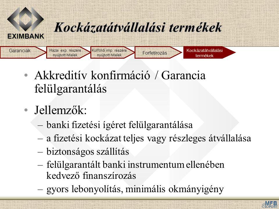 EXIMBANK MFB CSOPORT Kockázatátvállalási termékek •Akkreditív konfirmáció / Garancia felülgarantálás •Jellemzők: –banki fizetési ígéret felülgarantálá