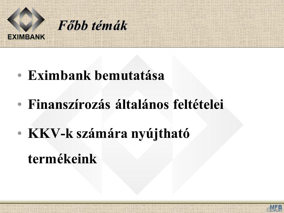 EXIMBANK MFB CSOPORT Főbb témák •Eximbank bemutatása •Finanszírozás általános feltételei •KKV-k számára nyújtható termékeink