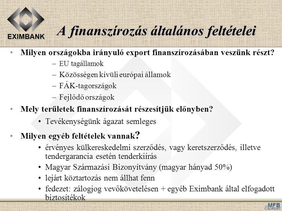EXIMBANK MFB CSOPORT A finanszírozás általános feltételei •Milyen országokba irányuló export finanszírozásában veszünk részt? –EU tagállamok –Közösség
