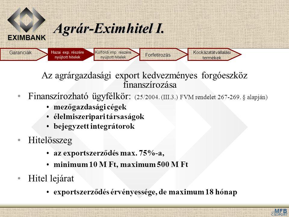 EXIMBANK MFB CSOPORT Agrár-Eximhitel I. Az agrárgazdasági export kedvezményes forgóeszköz finanszírozása •Finanszírozható ügyfélkör: (25/2004. (III.3.