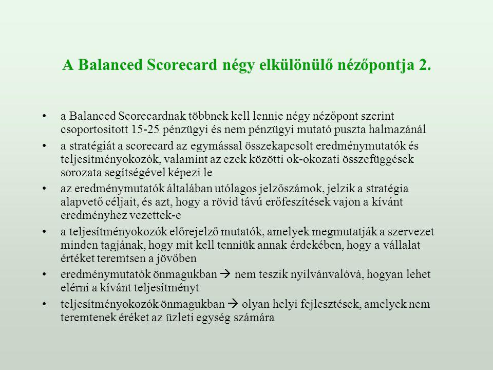 A Balanced Scorecard négy elkülönülő nézőpontja 2.