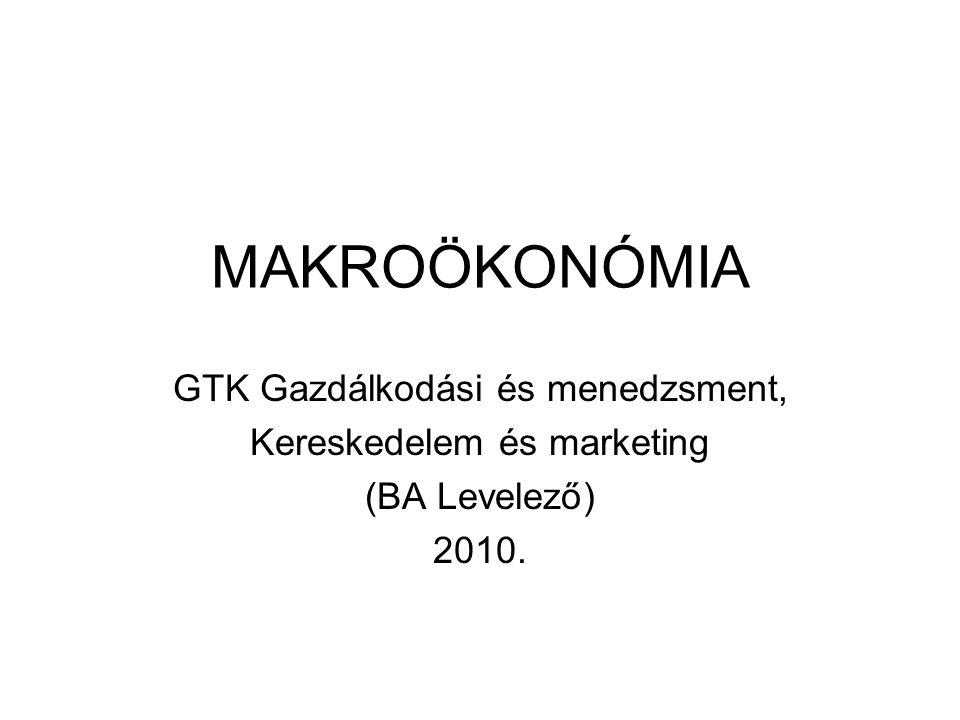 MAKROÖKONÓMIA GTK Gazdálkodási és menedzsment, Kereskedelem és marketing (BA Levelező) 2010.
