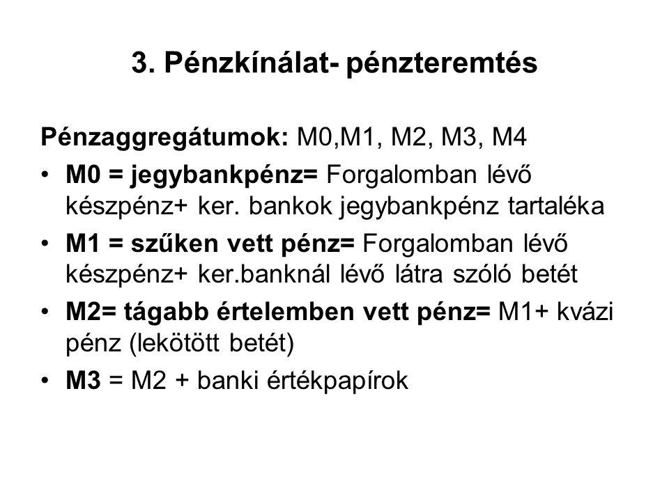 3. Pénzkínálat- pénzteremtés Pénzaggregátumok: M0,M1, M2, M3, M4 •M0 = jegybankpénz= Forgalomban lévő készpénz+ ker. bankok jegybankpénz tartaléka •M1