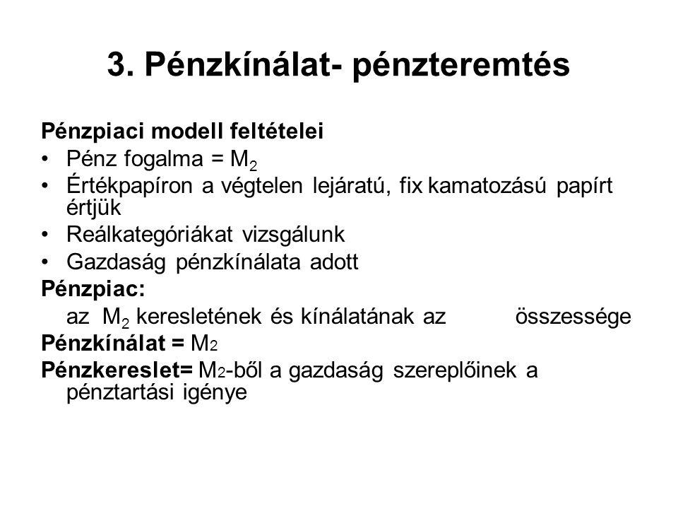 3. Pénzkínálat- pénzteremtés Pénzpiaci modell feltételei •Pénz fogalma = M 2 •Értékpapíron a végtelen lejáratú, fix kamatozású papírt értjük •Reálkate