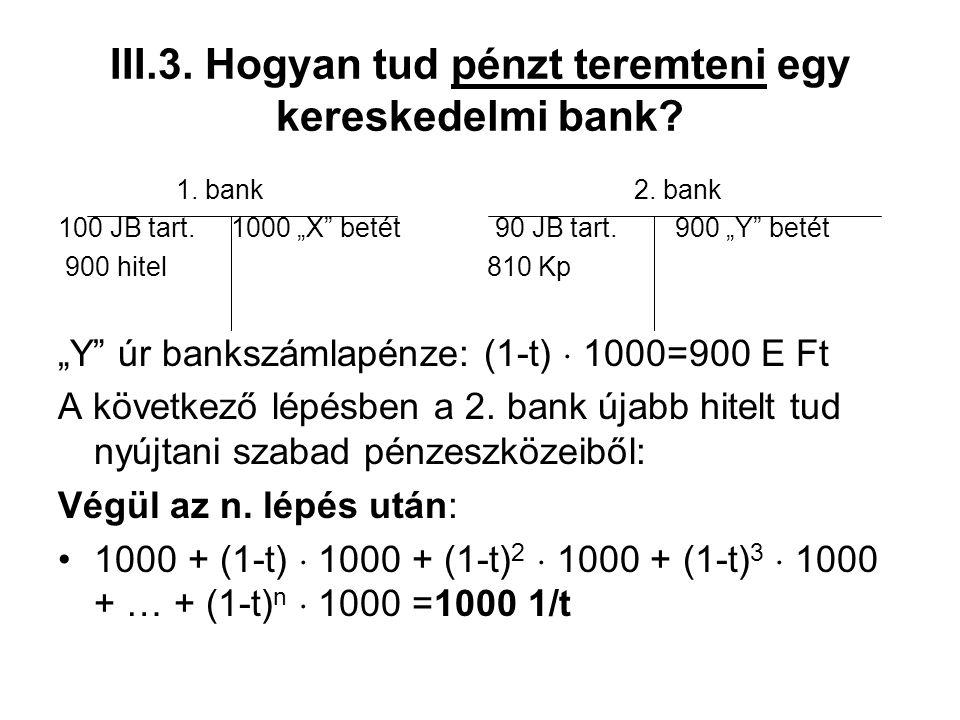 """III.3. Hogyan tud pénzt teremteni egy kereskedelmi bank? 1. bank2. bank 100 JB tart. 1000 """"X"""" betét 90 JB tart. 900 """"Y"""" betét 900 hitel 810 Kp """"Y"""" úr"""