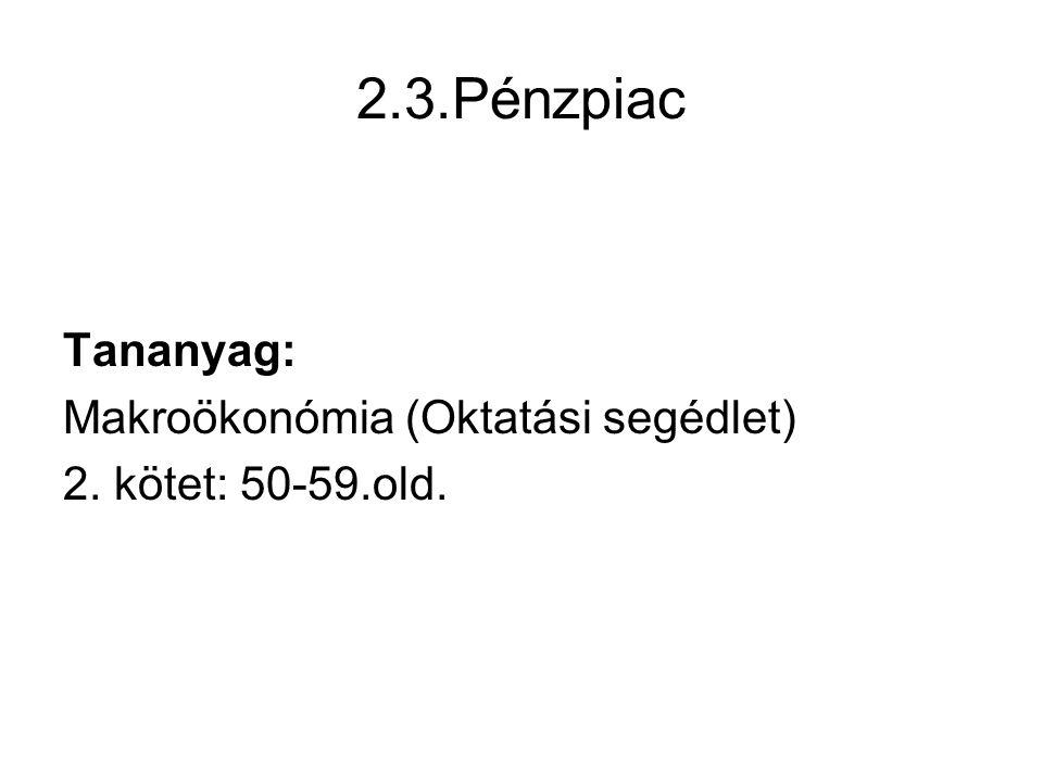 2.3.Pénzpiac Tananyag: Makroökonómia (Oktatási segédlet) 2. kötet: 50-59.old.