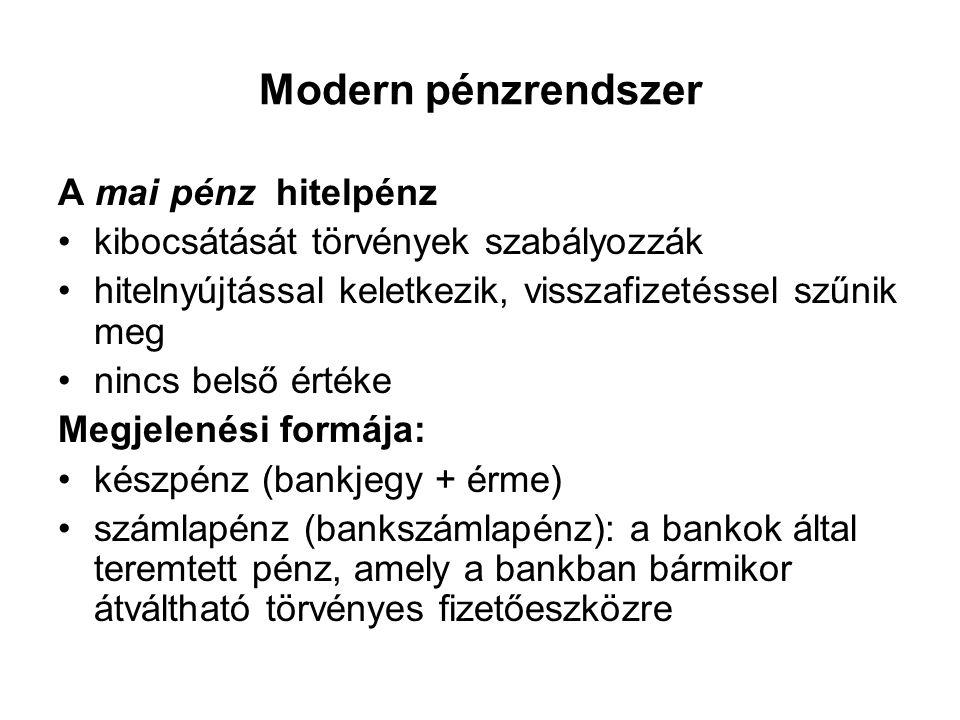 Modern pénzrendszer A mai pénz hitelpénz •kibocsátását törvények szabályozzák •hitelnyújtással keletkezik, visszafizetéssel szűnik meg •nincs belső ér