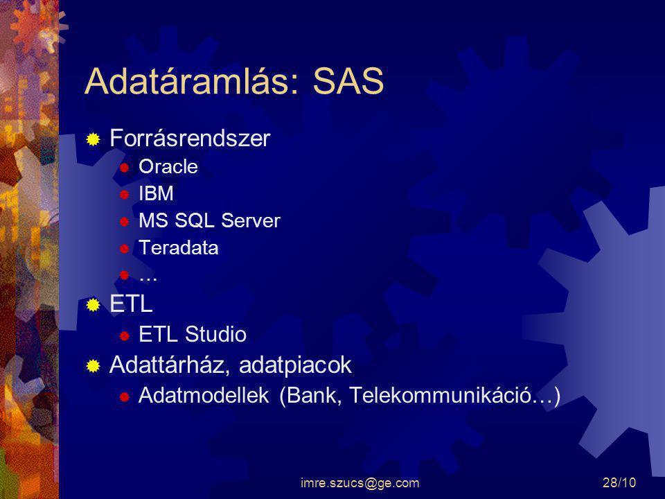 imre.szucs@ge.com28/10 Adatáramlás: SAS  Forrásrendszer  Oracle  IBM  MS SQL Server  Teradata  …  ETL  ETL Studio  Adattárház, adatpiacok  A