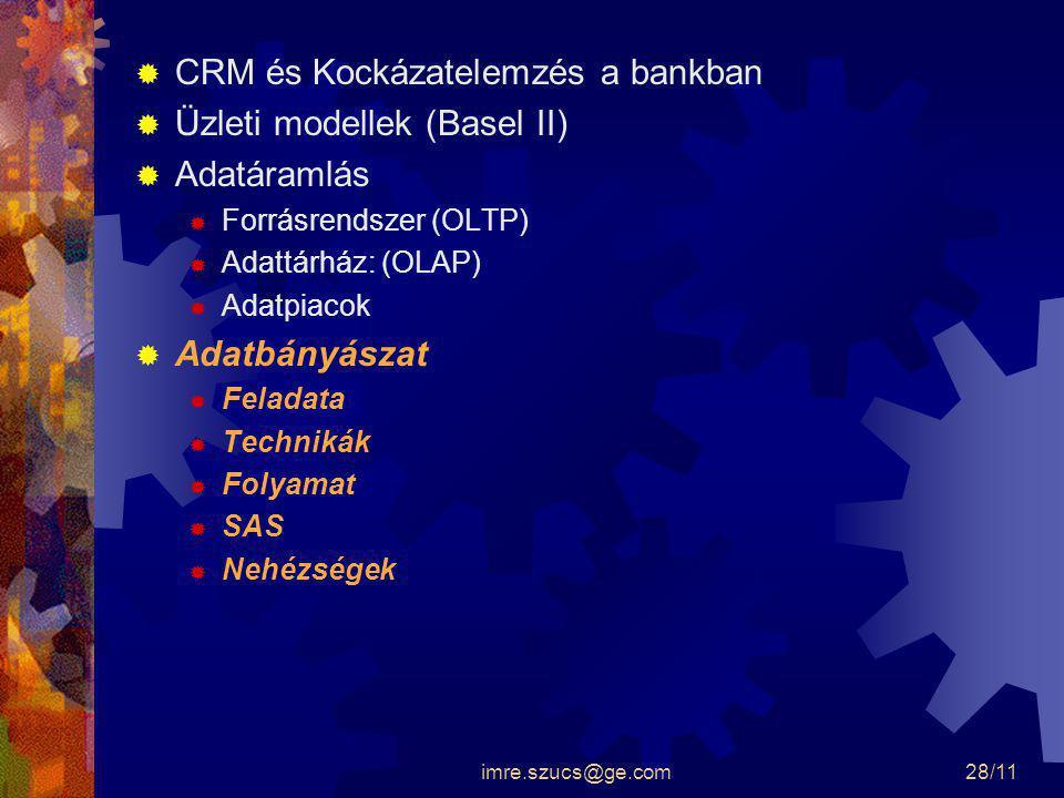 imre.szucs@ge.com28/11  CRM és Kockázatelemzés a bankban  Üzleti modellek (Basel II)  Adatáramlás  Forrásrendszer (OLTP)  Adattárház: (OLAP)  Ad