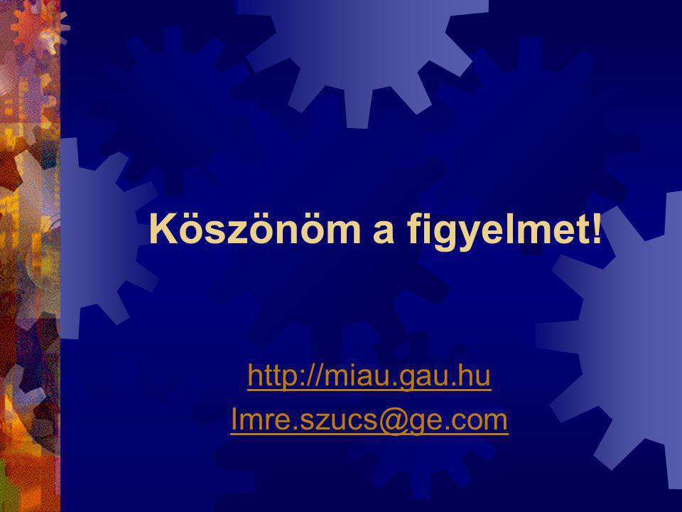 Köszönöm a figyelmet! http://miau.gau.hu Imre.szucs@ge.com