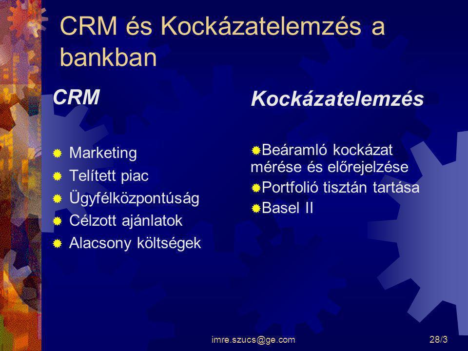 imre.szucs@ge.com28/3 CRM és Kockázatelemzés a bankban CRM  Marketing  Telített piac  Ügyfélközpontúság  Célzott ajánlatok  Alacsony költségek Ko