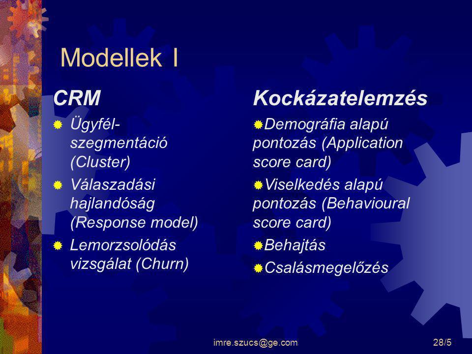 imre.szucs@ge.com28/5 Modellek I CRM  Ügyfél- szegmentáció (Cluster)  Válaszadási hajlandóság (Response model)  Lemorzsolódás vizsgálat (Churn) Koc