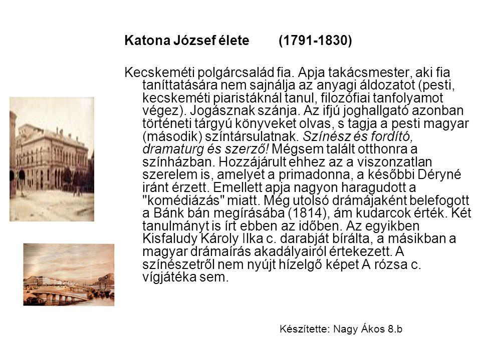 Katona József élete (1791-1830) Kecskeméti polgárcsalád fia. Apja takácsmester, aki fia taníttatására nem sajnálja az anyagi áldozatot (pesti, kecskem