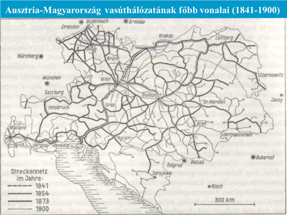 Ausztria-Magyarország vasúthálózatának főbb vonalai (1841-1900)