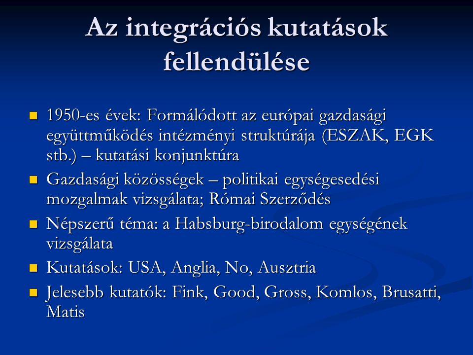 Az integrációs kutatások fellendülése  1950-es évek: Formálódott az európai gazdasági együttműködés intézményi struktúrája (ESZAK, EGK stb.) – kutatá