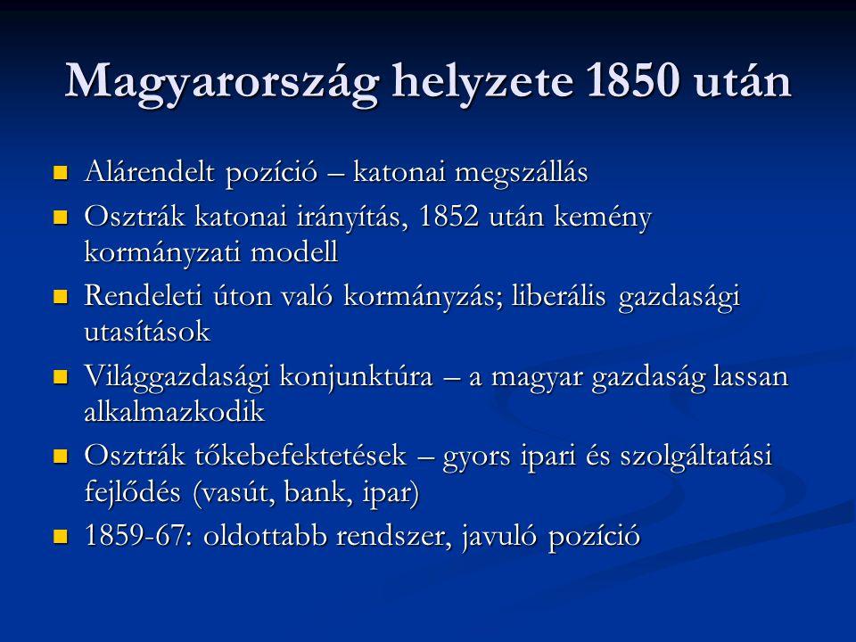 A berendezkedés gazdasági vonatkozásai 1867 után  Magyarország alárendelt pozícióból mellérendelt helyzetbe került - Ausztria nehezen viseli A közös ügyek rendszere: - külügy - hadügy - ezek pénzügye - az uralkodó A közös érdekeltségű ügyek: - a közösen kialakított vasút - 1867 előtti államadósság - a jegybank és a pénz - a vámok kérdése - az adók