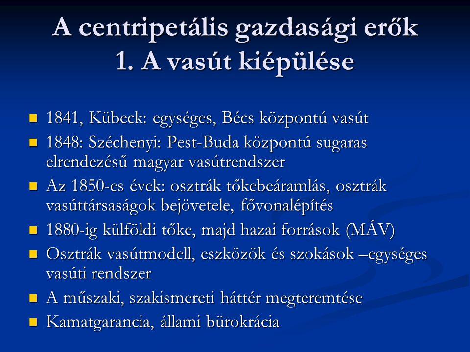 A centripetális gazdasági erők 1. A vasút kiépülése  1841, Kübeck: egységes, Bécs központú vasút  1848: Széchenyi: Pest-Buda központú sugaras elrend
