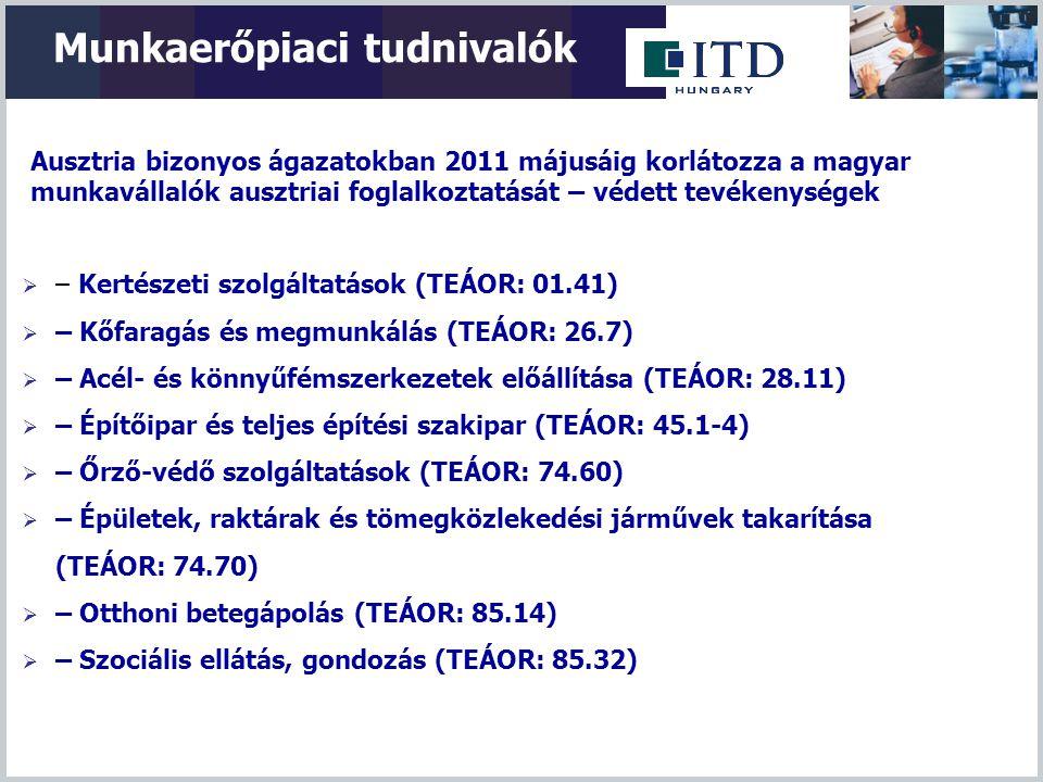 Munkaerőpiaci tudnivalók Ausztria bizonyos ágazatokban 2011 májusáig korlátozza a magyar munkavállalók ausztriai foglalkoztatását – védett tevékenység