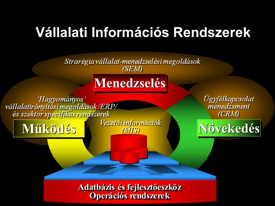 Vállalati Információs Rendszerek Adatbázis és fejlesztőeszköz Operációs rendszerek Adatbázis és fejlesztőeszköz Operációs rendszerek MűködésMűködés 'H