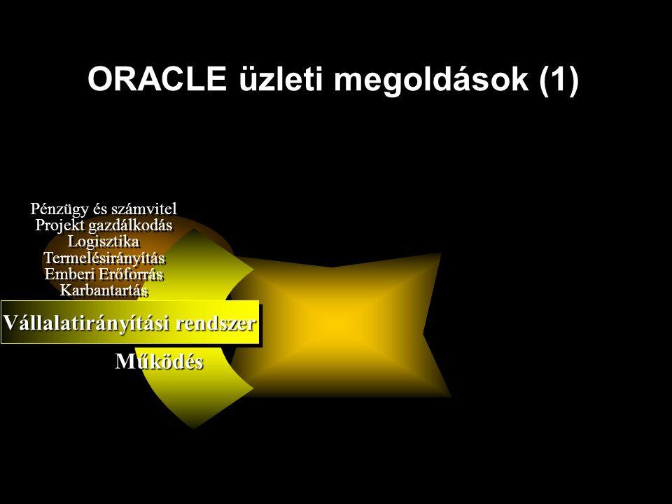 ORACLE üzleti megoldások (1) Vállalatirányítási rendszer Pénzügy és számvitel Projekt gazdálkodás Logisztika Termelésirányítás Emberi Erőforrás Karban