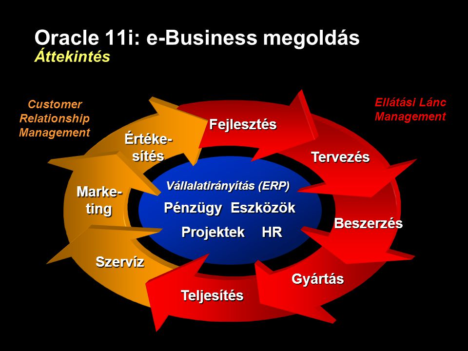 Oracle 11i: e-Business megoldás Áttekintés Beszerzés Gyártás Teljesítés Szervíz Fejlesztés Tervezés Marke- ting Értéke-sítés Vállalatirányítás (ERP) P