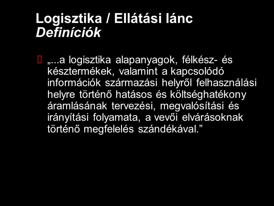 """Logisztika / Ellátási lánc Definíciók  """"...a logisztika alapanyagok, félkész- és késztermékek, valamint a kapcsolódó információk származási helyről f"""