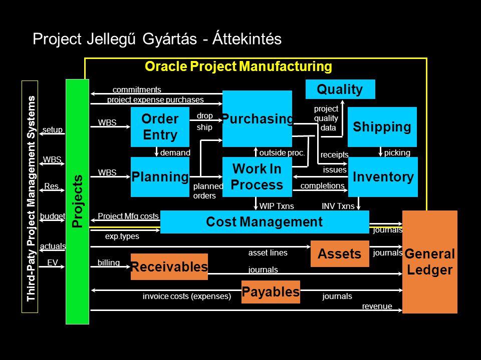 Project Jellegű Gyártás - Áttekintés Oracle Project Manufacturing setup WBS Res. budget Cost Management exp.types Projects Third-Paty Project Manageme