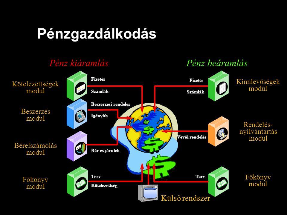 Pénzgazdálkodás Külső rendszer Főkönyv modul Kinnlevőségek modul Bérelszámolás modul Kötelezettségek modul Beszerzés modul Rendelés- nyilvántartás mod