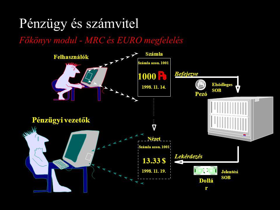 Pénzügy és számvitel Főkönyv modul - MRC és EURO megfelelés 1000 1998. 11. 14. Számla azon. 1001 Számla Nézet Befejezve Lekérdezés Felhasználók Jelent