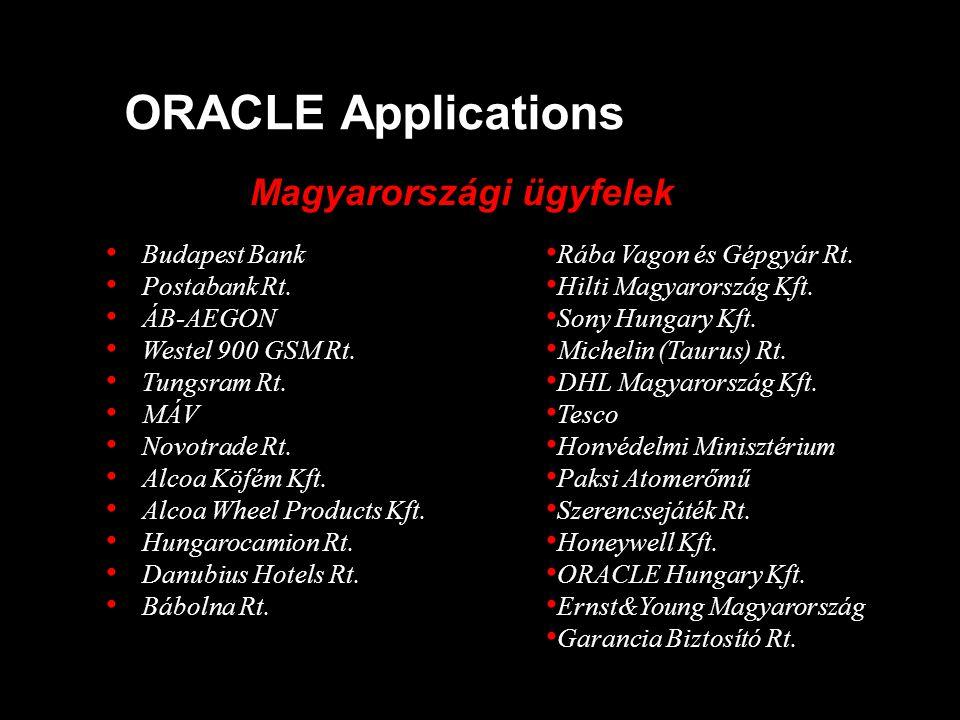 ORACLE Applications Magyarországi ügyfelek • Budapest Bank • Postabank Rt. • ÁB-AEGON • Westel 900 GSM Rt. • Tungsram Rt. • MÁV • Novotrade Rt. • Alco