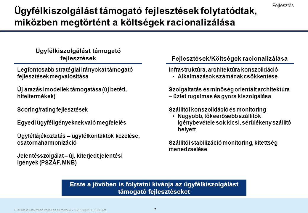 8 IT business konferencia Papp Edit prezentacio v10-2010Apr28-LR-EBH.ppt Erste stratégia bizonyította sikerét 2009-ben EBH: 2.