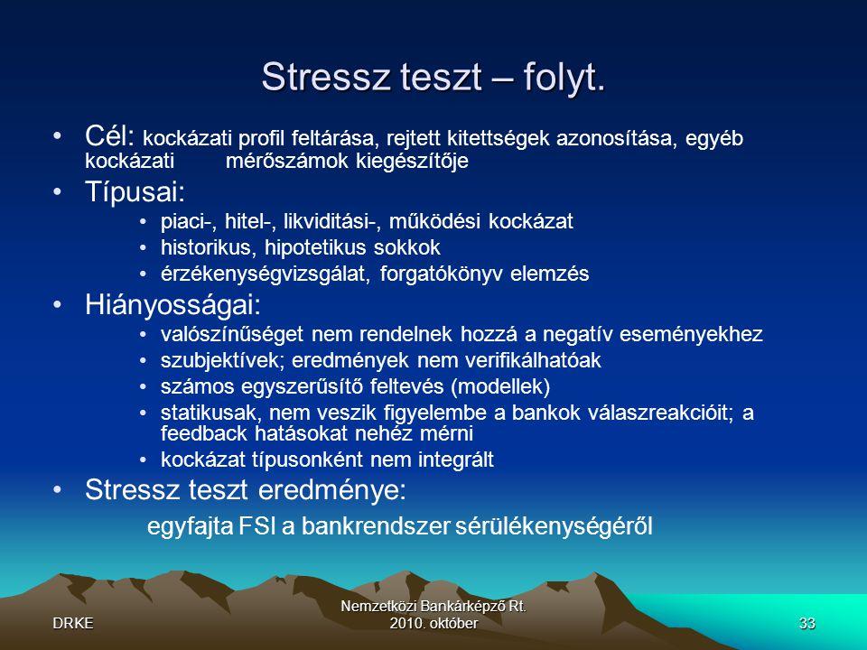 DRKE Nemzetközi Bankárképző Rt.2010. október33 Stressz teszt – folyt.