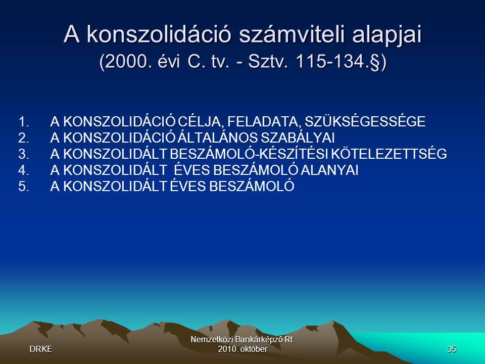 DRKE Nemzetközi Bankárképző Rt.2010. október35 A konszolidáció számviteli alapjai (2000.