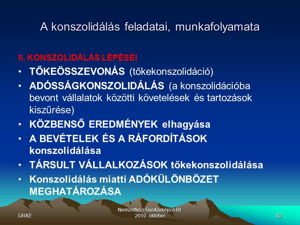 DRKE Nemzetközi Bankárképző Rt.2010. október62 A konszolidálás feladatai, munkafolyamata II.