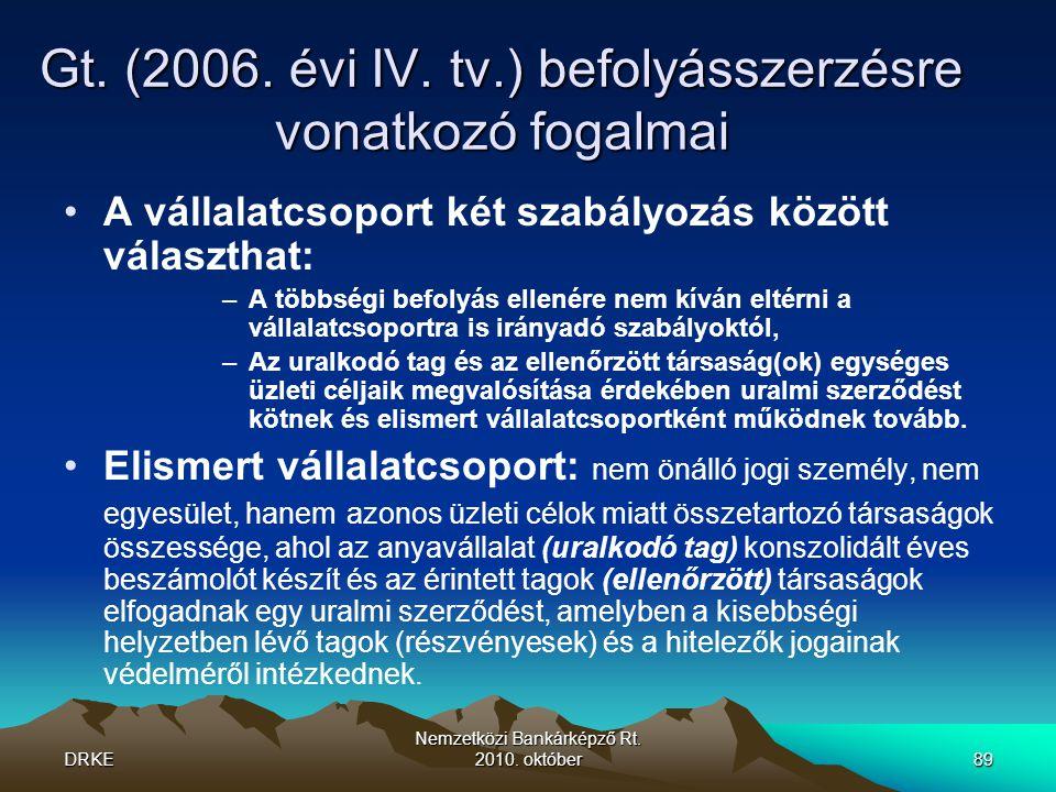 DRKE Nemzetközi Bankárképző Rt.2010. október89 Gt.
